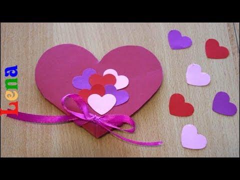 Herz Karte basteln mit Schleife ❤️ DIY Heart Card with bowl diy ❤️ Как сделать валентинку