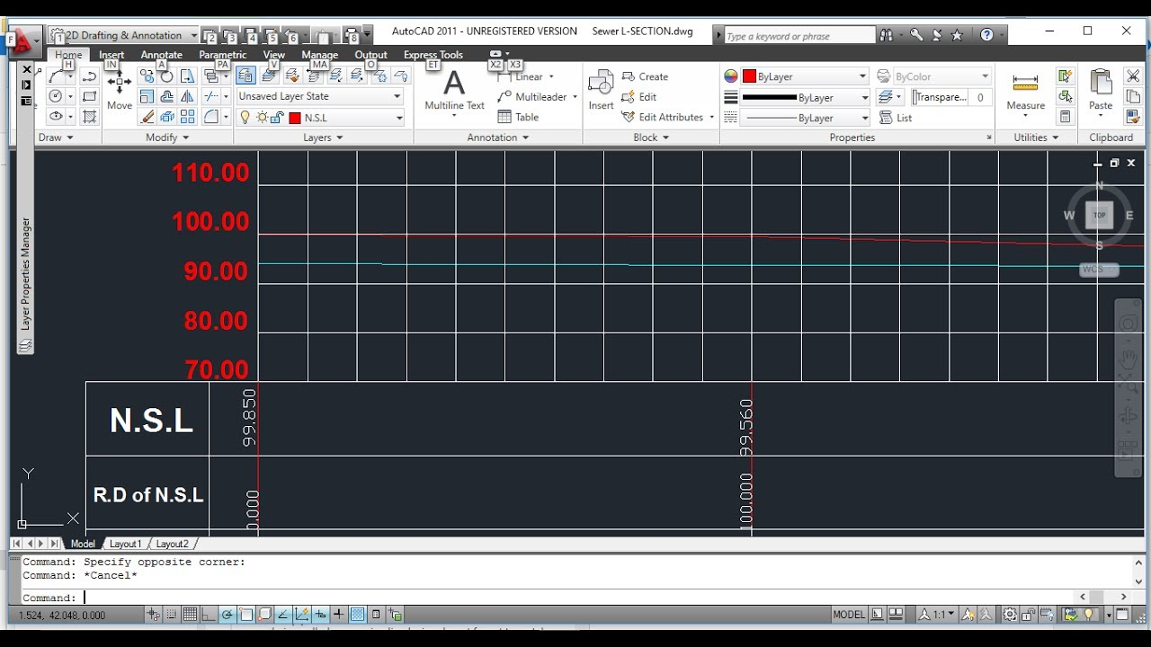 How To Draw Sewer Longitudinal Section in AutoCAD using Excel - Existing &  invert Level of Sewer
