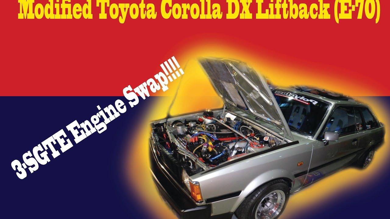 wildly modified toyota corolla dx liftback (e-70) 3-sgte engine