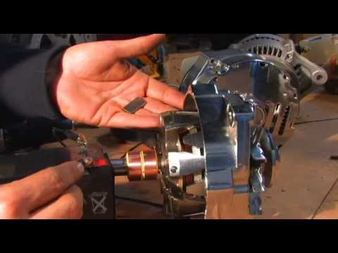 Inside a Car Alternator Green Energy Generator Brush Reinsertion for wind turbine RPM