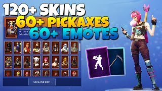 ALL MY FORTNITE SKINS! 120+ SKINS, 60+ PICKAXES, 60+ EMOTES (Locker Showcase)