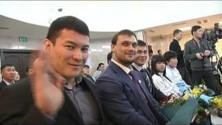 Чествование штангистов из Казахстана в Астане после ЧМ 2014