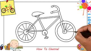 How to draw a bike (bicycle) EASY step by step for kids, beginners 2