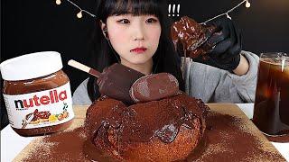 ASMR직접만든 대왕 누텔라 초콜릿 초코찹쌀도넛 디저트…