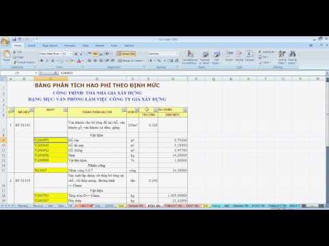 Hướng dẫn cách nhập công thức và tính toán khối lượng trong phần mềm dự toán GXD bằng Exell 2007