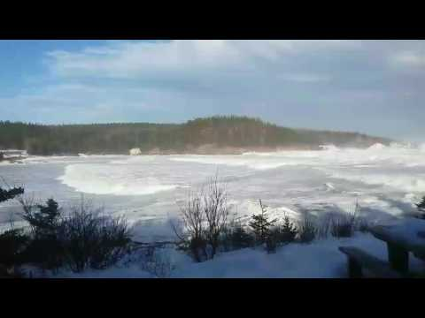 storm surge in Neils Harbour Nova Scotia Dec 2016