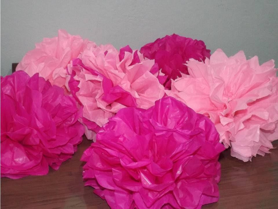 FLOR DE PAPEL PRA DECORAR FESTA Pompom de Papel Seda YouTube -> Decoração De Flores De Papel Para Aniversario