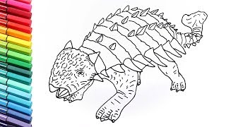 How to Draw Ankylosaur From Jurassic World - Drawing and Coloring Dinosaurs for Kids
