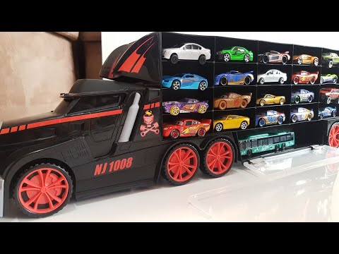 Toy Cars Transportation by Truck Hot Wheels Welly Disney Video for Kids