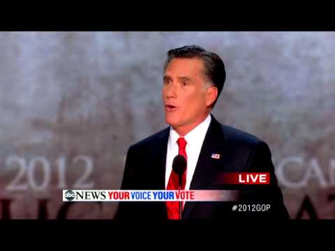 Video of Romney nomination acceptance speech for President at RNC (via YouTube)