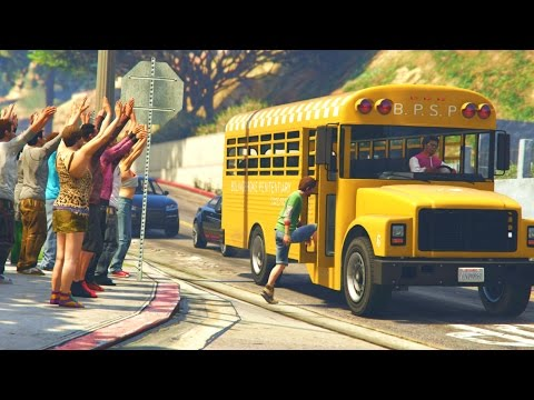 GTA 5 Mods - BACK TO SCHOOL LIFE HACKS + CRAZY BUS DRIVER MOD! (GTA 5 PC Mods)