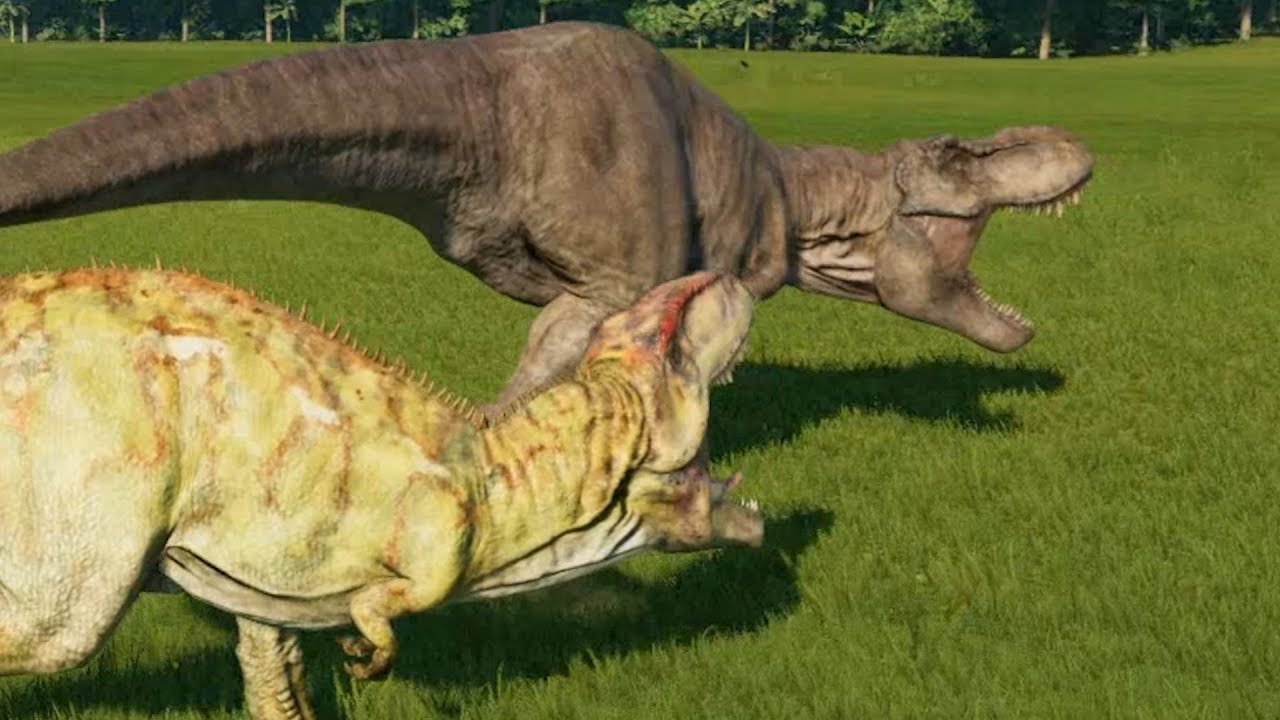 giganotosaurus vs trex jurassic world evolution doovi