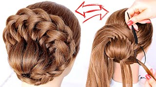 😱 EASY Braided Bun 😱 Wedding Prom Updo Hair Tutorial perfect for long, medium & shoulder length hair