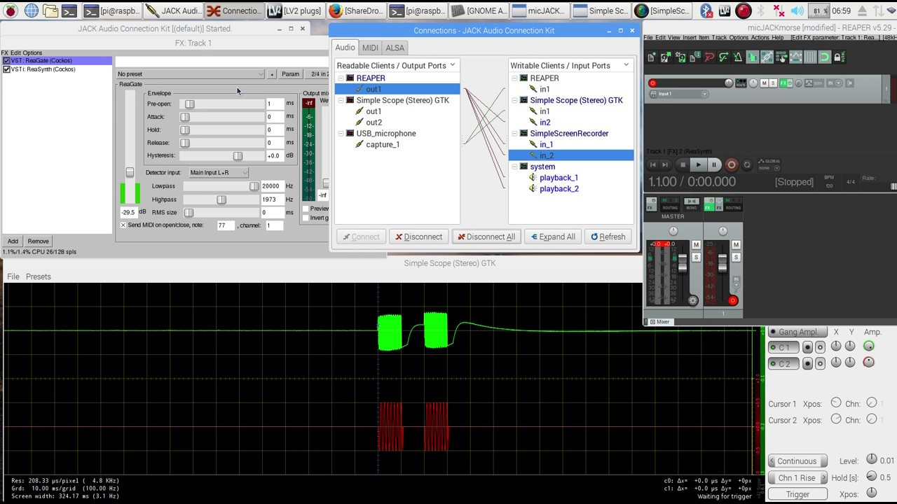 Key a Raspberry Pi - sine wave code practice oscillator - with your CW  KEYER - just like a RIG - pt1