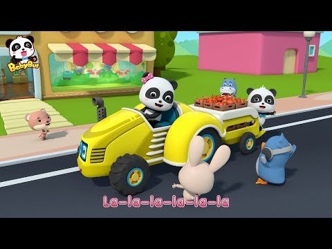Baby Panda Sends Apples to BabyBus Town | Excavator Plants Trees | Car Song for Kids | BabyBus