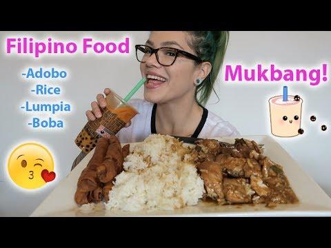 FILIPINO FOOD MUKBANG! ADOBO, RICE, LUMPIA W/BOBA EAT WITH ME! 먹방