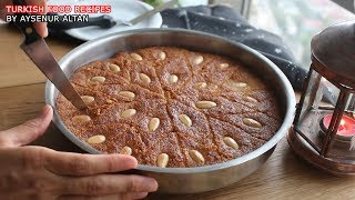 Turkish Sambali / Revani (Basbousa) Dessert With Semolina (No Egg, Oil, Flour)