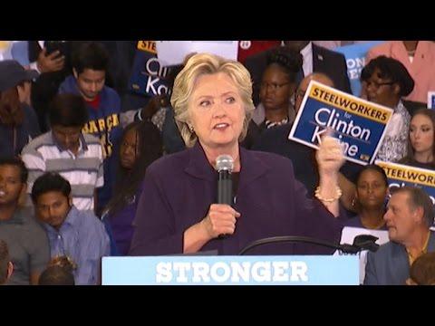 Hillary Clinton talks debate, hits Trump on taxes at Detroit rally