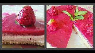 Клубничный торт без выпечки. Творожный торт с клубничным желе. Из замороженной клубники