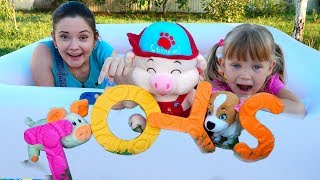 Alphabet Song Nursery Rhymes with doll Emili and Tasya  with toys