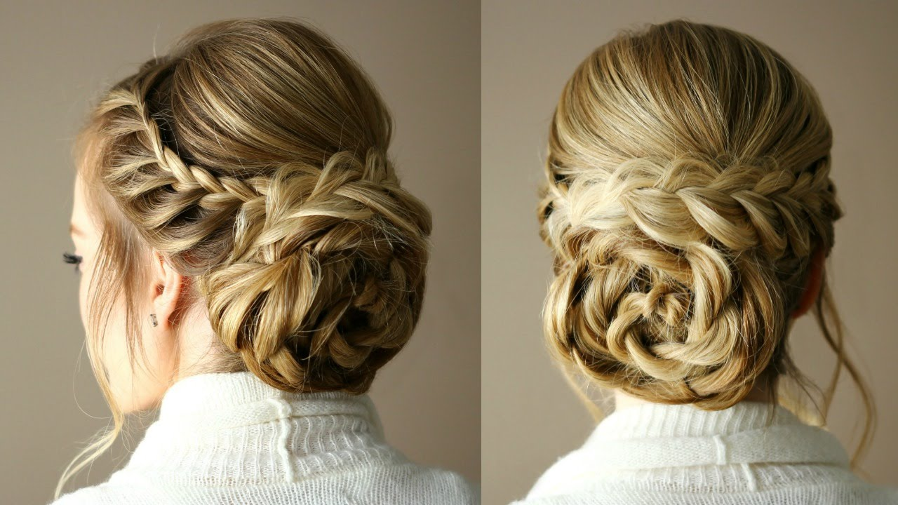 Hair Styles For Spring: Braid Embellished Rosette Bun