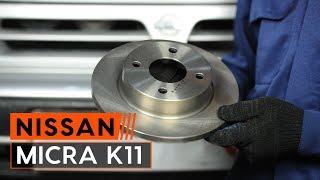 Cómo cambiar Disco de freno NISSAN MICRA II (K11) - vídeo gratis en línea