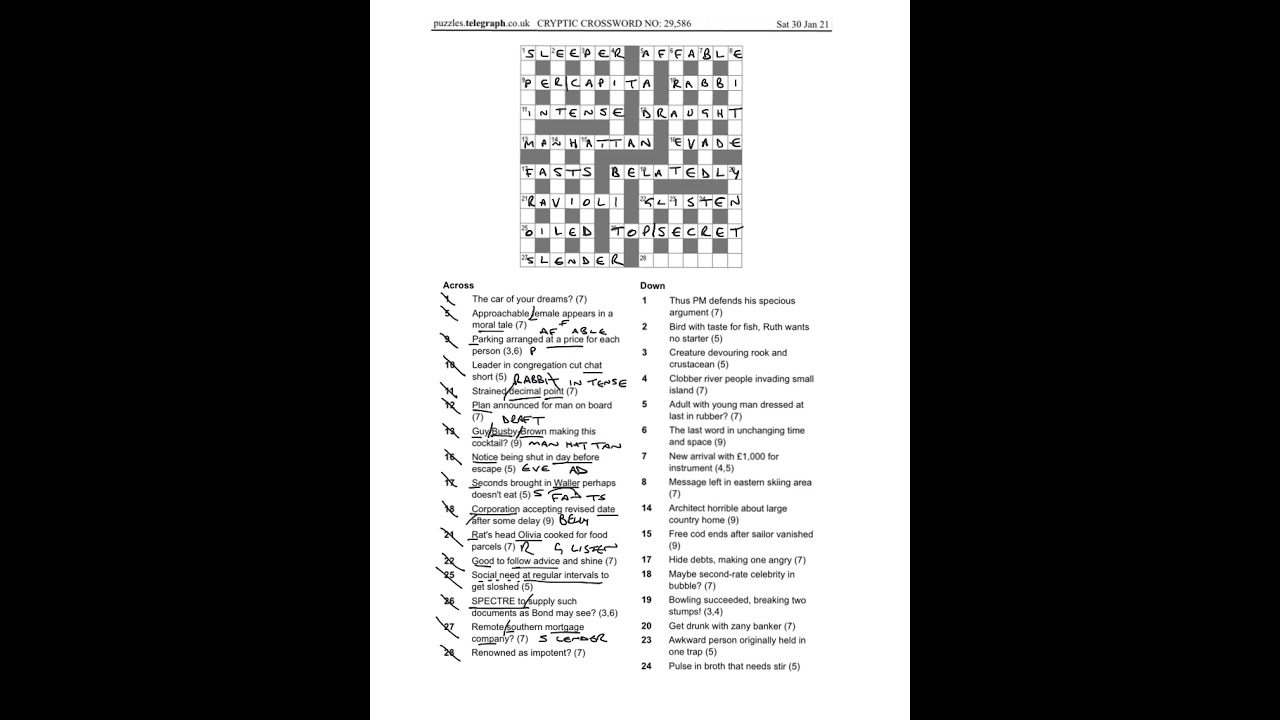 Daily Telegraph Prize Crossword 29586 Anwers And Walkthrough Sat 30th Jan 2021 Youtube