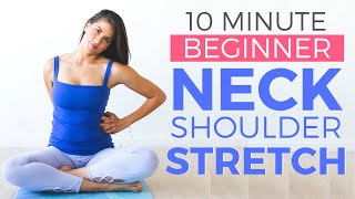 10 minute Beginner Yoga Stretch for Neck & Shoulder Relief | Yoga for Beginners