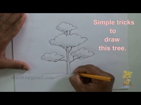 How To Draw A Beautiful Tree With Simple Shape | Easy Way To Draw A Tree
