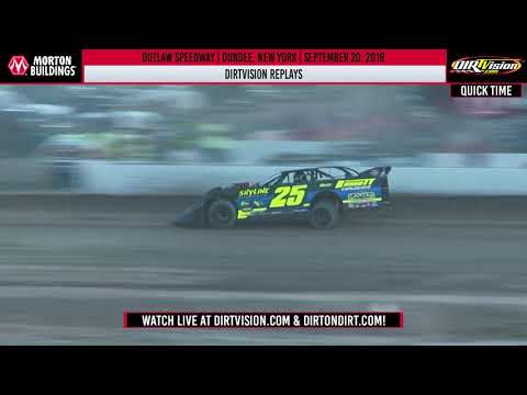 DIRTVision Replays from Outlaw Speedway in Dundee, New York on September 20th, 2019 - World of Outlaws Morton Buildings Late Models. - dirt track racing video image