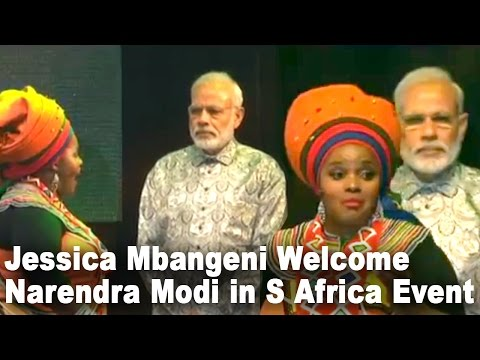 Grand Welcome of PM Narendra Modi  Praise Singer Jessica Mbangeni in Johannesburg South Africa