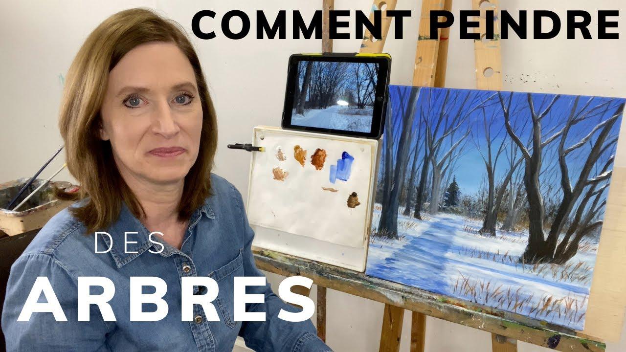 Comment peindre des arbres - scène d'hiver