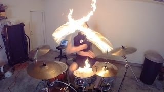 Burn - Drum Cover w/ Fire Sticks (Copyright Re-upload) Ellie Goulding