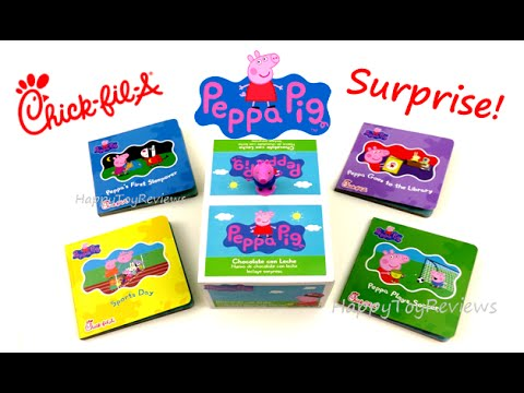 2016 Chick Fil A Peppa Pig Kids Meal Toys Surprise Eggs Set 4 Board Books 3 Years Under Collection