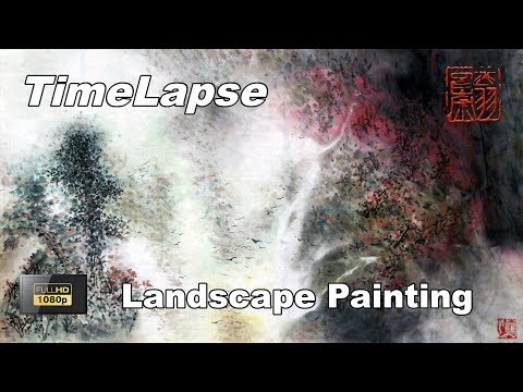 Landscape Painting with Watercolor – Traditional Chinese Art – TIMELAPSE