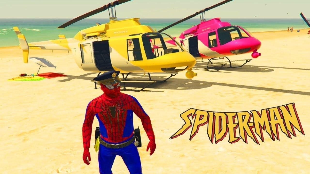 Colores Helicóptero con Hombre Araña Rimas De Vivero Dedo Familia en Espanol
