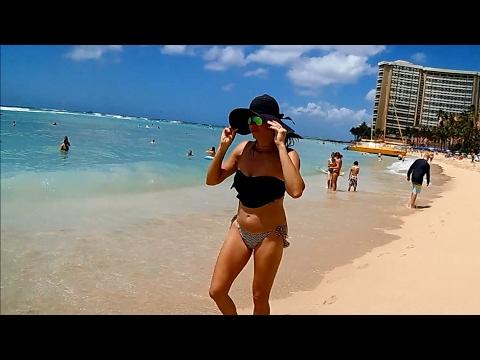 Best Beach On Oahu, Waikiki Beach, HD Wide Angle Camera, Honolulu, Hawaii