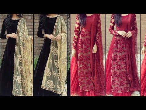 Beautiful full sleeves suit designs/Pakistani suit designs ideas for wedding/party wear suit designs