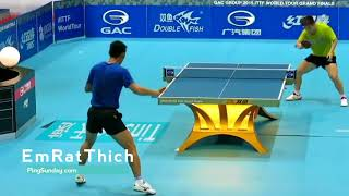 Zhang Jike training slow motion to study