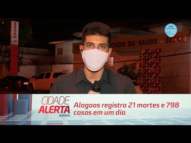 Coronavírus: Alagoas registra 21 mortes e 798 casos em um dia
