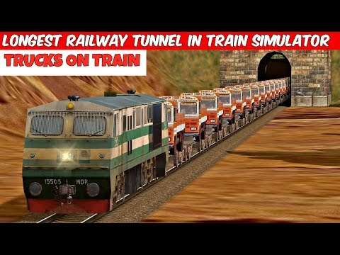 Trucks On Train || Longest Railway Tunnel in Train Simulator ||  MSTS Open Rails