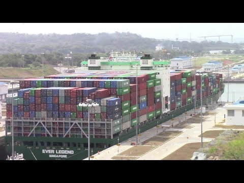 Container Ship EVER LEGEND at Agua Clara Locks - Expanded Panama Canal (May 1, 2017)