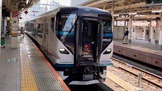 E257系2000番台NA-08編成が踊り子号として到着するシーン