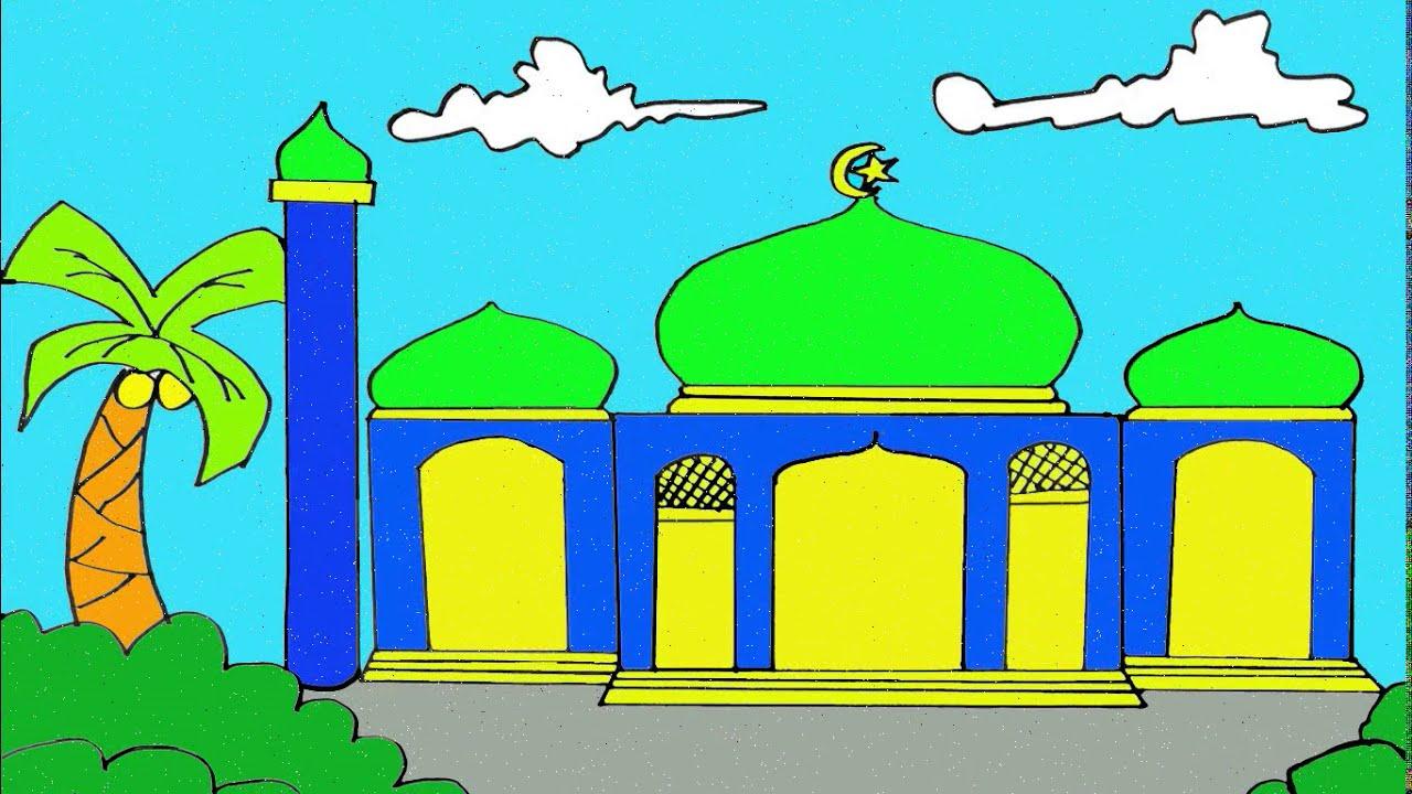 Cara Menggambar Masjid I Dan I Mewarnai Gambar Masjid Yang Mudah Youtube