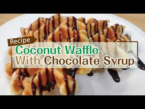 Coconut Waffle with Chocolate Syrup