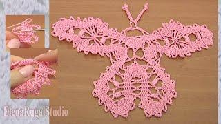 Crochet Bruges Butterfly Урок 15 часть 1 из 3 Бабочка крючком в технике брюггского кружева