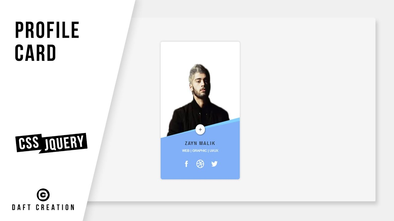 Profile card css jquery tutorial youtube profile card css jquery tutorial daft creation reheart Images