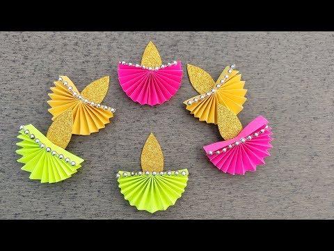 Diwali Decoration Ideas at Home // Diy How to make Paper Diya // Easy Diwali Decorations Ideas