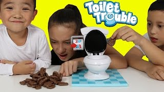 CHOCOLATE POO Toilet Trouble Game Funny Kids Challenge With Ckn Toys thumbnail