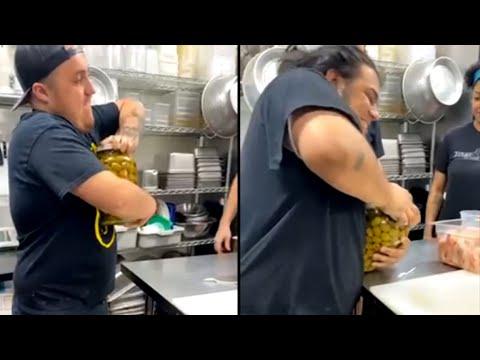 Woman Easily Opens Jar After Watching Men Struggle